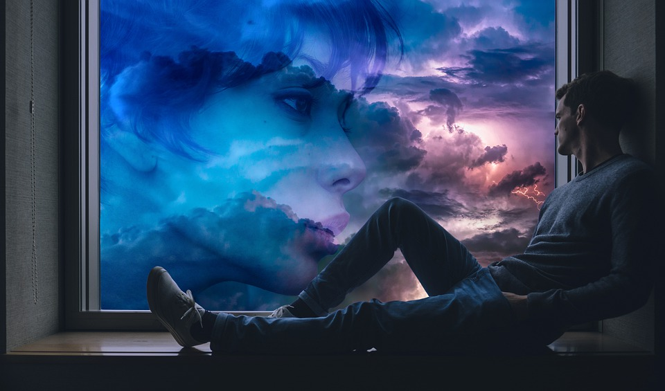 Hombre, Mujer, Amor, Afecto, Ventana, Nubes, Sueños